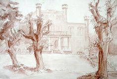 Old castle in a park drawing with sanguine Royalty Free Stock Images