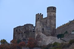 Old Castle on Rhine River stock photos