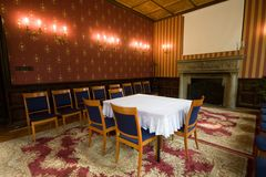Old castle room. With chairs royalty free stock photo