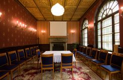 Old castle room. With chairs royalty free stock photos