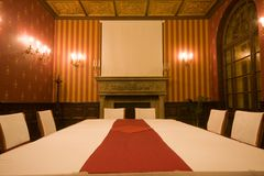 Old castle room. At night royalty free stock photo