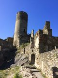 an old castle ruin on the mountain stock image
