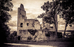 Old castle ruin. In sepia colours Royalty Free Stock Photo