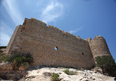 Old castle ruines on island Rhodes. Old castle ruines, wide clear blue sky stock photo