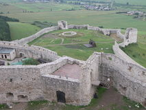 Old castle ruins from above. L in Slovakia Stock Photo