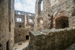 Old castle ruins. Old gothic castle ruins in Karlstejn, southern Czech Republic Stock Photo