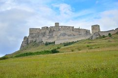 Old castle ruins. Ruins Castle Spissky Hrad in Slovakia stock image
