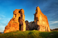 Old castle ruins in sunset light. Toolse in northern Estonia royalty free stock images