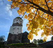 Old castle and Saint Olaf tower in Vyborg, Russia Stock Image