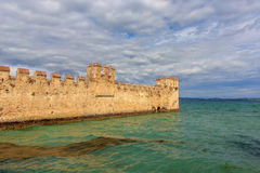 The wall of old castle in Sirmione on Lake Garda,  Royalty Free Stock Photography