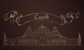Old castle in sketch. Medieval fairy castle Stock Image