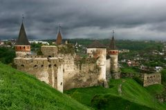 Old castle on sky background. Old castle on cloudy sky background Stock Photo