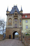 Old castle square Germany. Meissen castle gate.The Albrechtsburg, the former residence of the House of Wettin, is regarded as being the first castle to be used Stock Image