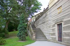 Old castle stairs and trees Stock Photo
