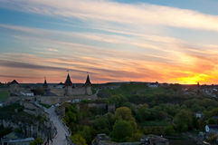 Old castle on the sunset background Royalty Free Stock Photos