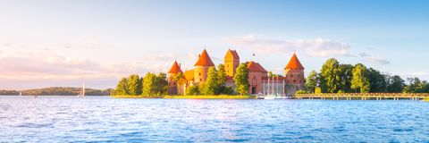 Old castle in sunset time. Trakai, Lithuania royalty free stock image