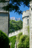 Old castle tower. S on mountain background Royalty Free Stock Image