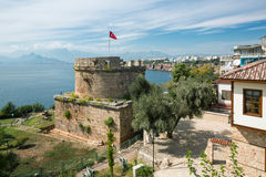 Old Castle Tower in Antalya, Kaleichi Royalty Free Stock Photography