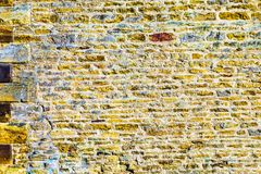 Old castle tower brick wall background in uk.  stock images