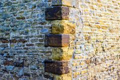 Old castle tower brick wall background in uk.  royalty free stock photo