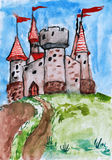 Old castle, tower with flag, medieval stronghold, child drawing watercolor on paper, hand drawn art picture Stock Images