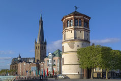 Old Castle Tower and st Lambertus church, Dusseldorf Stock Photo