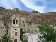 Old Castle Town. A view of an old preserved castle-town, Monemvasia, Greece royalty free stock photo