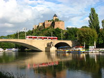 Old Castle and tram and their reflection Royalty Free Stock Images