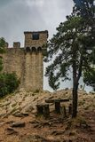 Old castle on top of the mountain in san marino stock photography