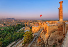 The old castle, Urfa, Turkey. Sunset over the ruins of the old castle, Urfa, Turkey Royalty Free Stock Images