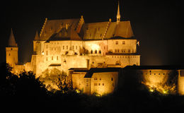 The old castle of Vianden in Luxembourg,Europe. Night shot of the old castle of Vianden in Luxembourg,Europe Royalty Free Stock Image