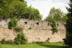 Old castle wall in Oberhundern. Old castle wall of the Adolfsburg Castle from 1677 in Oberhundern. Germany royalty free stock photo