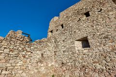 Old castle wall. Ruined medieval castle wall detail stock images