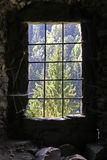 Old castle window. In darkness with spiderwebs Royalty Free Stock Images