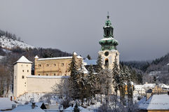 Old castle in winter Banska Stiavnica Stock Image