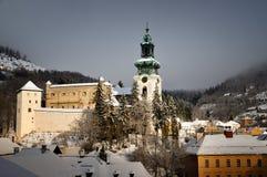 Old castle in winter Banska Stiavnica Stock Photography
