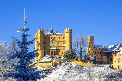 Old castle in the winter forest, Germany stock images