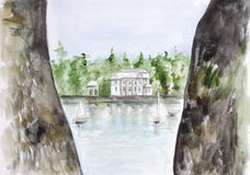 Old castle and yacht club. Two Rocks abstract landscape. Watercolor handmade  art painted illustration Stock Photography