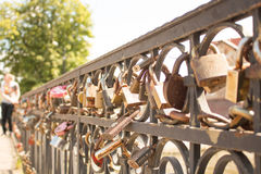 Old castles. Newlyweds on the fence Royalty Free Stock Image