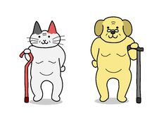 Old cat and old dog. With cane royalty free illustration