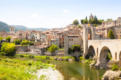 Old catalan town with antique bridge Royalty Free Stock Image
