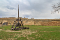 Old catapult inside the fort Stock Photography
