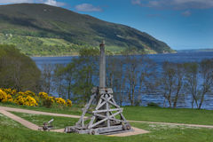 Old Catapult on Urquhart Castle grounds at Loch Ness. Stock Image