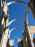 Old Cathedral arches. A cathedral which lost its roof in an earthquake, in the center of Lisbon stock photography