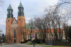The old cathedral in the beautiful old city of Poznan, Poland Royalty Free Stock Photo