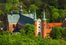 Old cathedral church in Gdansk. Aerial view of old cathedral church in Gdansk Oliwa in Poland Royalty Free Stock Photo