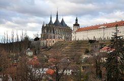 Old cathedral, city Kutna Hora, Czech republic, Europe. Park and old cathedra l, city Kutna Hora , Czech republic ,Europe royalty free stock photo
