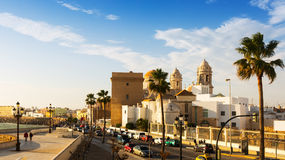 Old Cathedral and  embankment. Cadiz Royalty Free Stock Photography