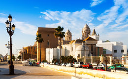 Old  Cathedral and  embankment in Cadiz, Spain Royalty Free Stock Photos