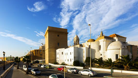 Old Cathedral and  embankment. Cadiz, Spain Stock Photos
